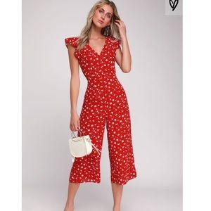 Lulus Floreal Love Red Floral Print Jumpsuit